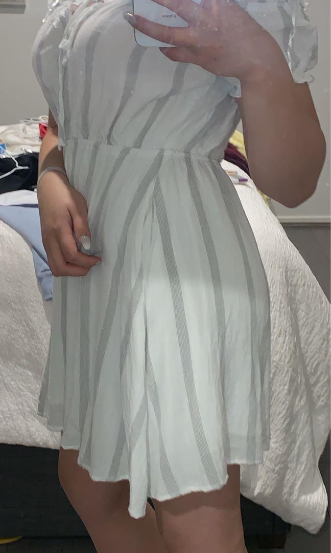 white striped sundress