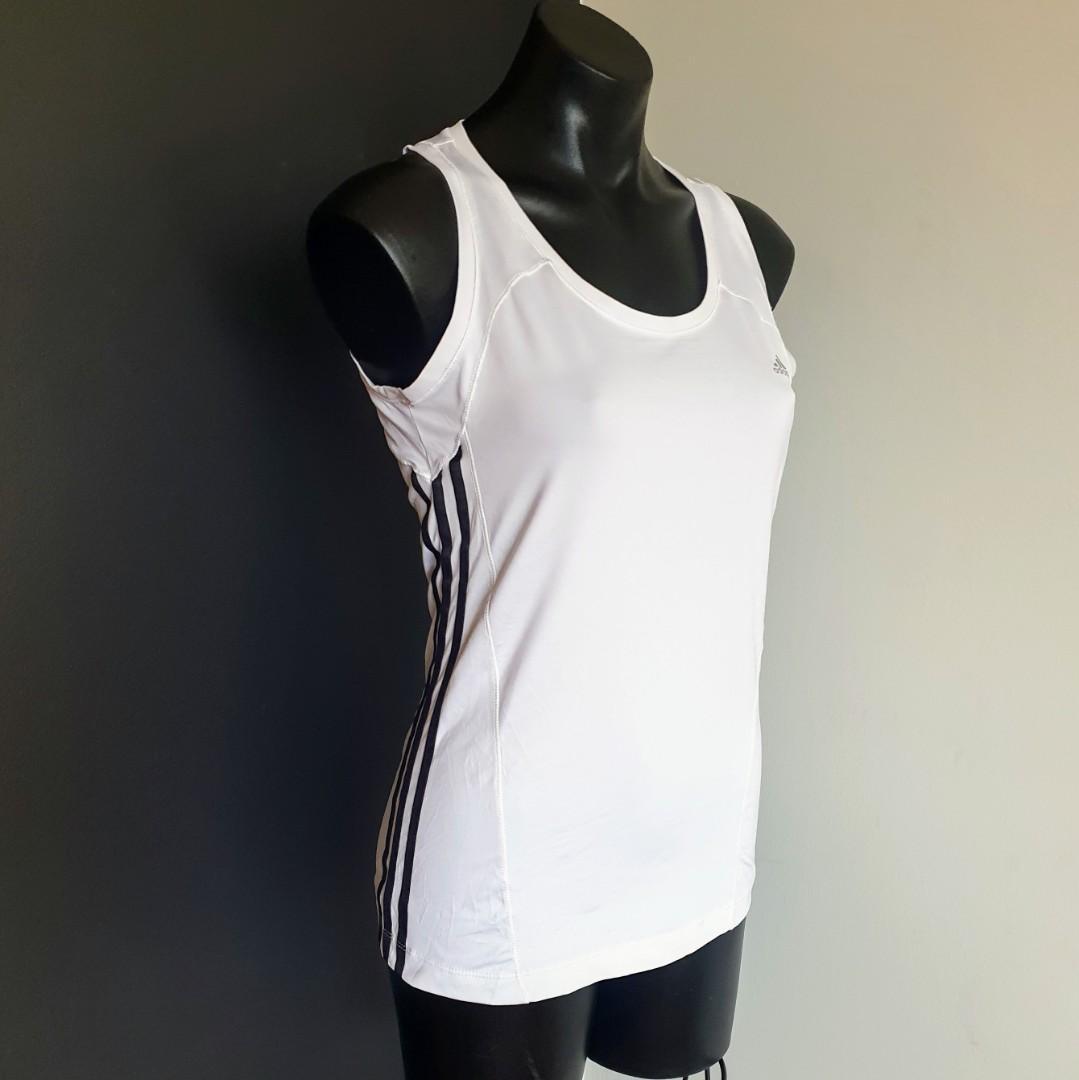 Women's size 16 'ADIDAS' Climacool gorgeous white black stripe activewear top - AS NEW