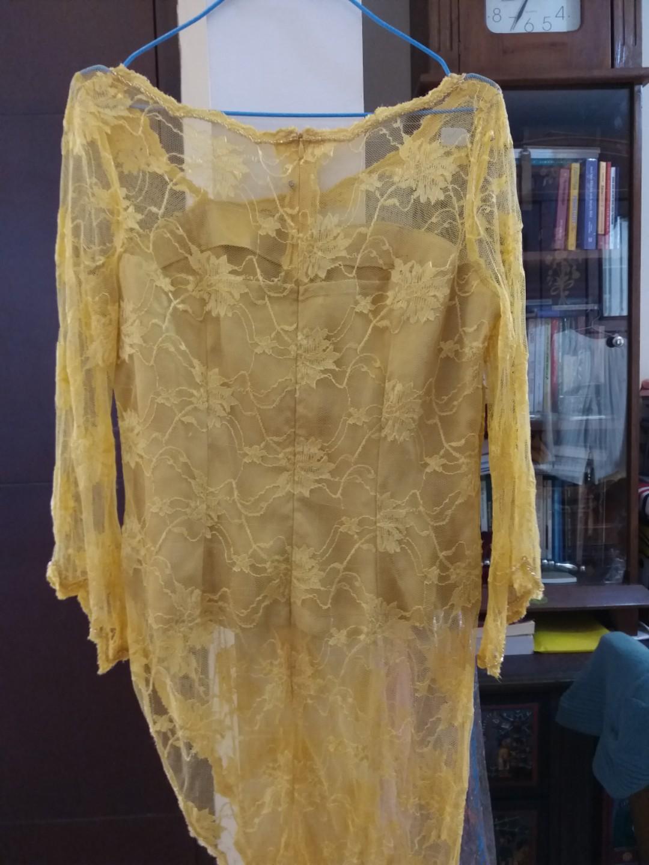 Yellow mustard brokat kebaya blouse