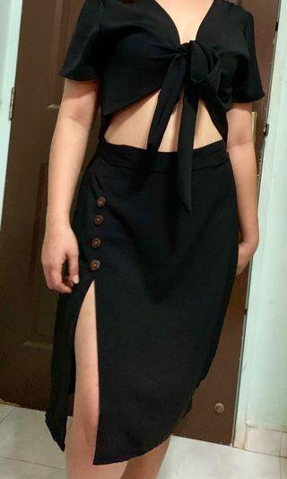 BRAND NEW TWO WAY WRAP CROP TOP AND BUTTONED DOWN SLIT SKIRT