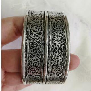 🚚 甘丹文物 ^_^ 尼泊爾 藏銀 掐絲 手鐲 手環 寬版 ( 直 )