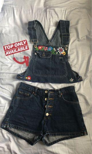 DIY Embroidered Denim Overall Crop Top