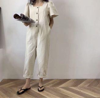 Puffy sleeves button down jumpsuit