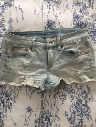 Pale blue American eagle shorts size 4