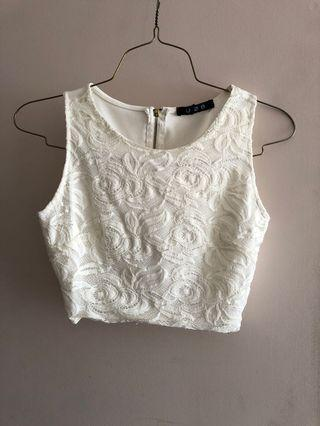 Lace white crop top