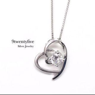 S925 Silver Love Eternity Heart Crystal Necklace