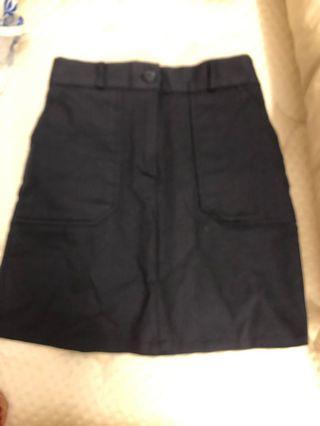 Navy highwaisted A-line skirt