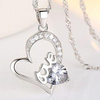 S925 Silver Love Crystal Heart Necklace
