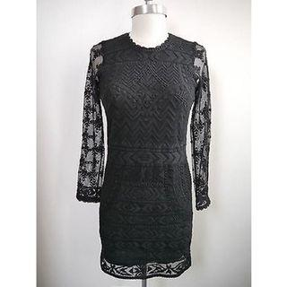 Isabel Marant x H&M Black LBD lace embroidered dress bodycon
