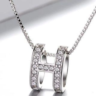 S925 Silver Classic H Crystal Necklace