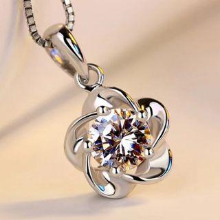 S925 Silver Flower Crystal Necklace