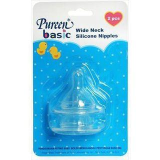 Pureen Basic Wide Neck Silicone Baby Milk Bottle Nipples (L size)