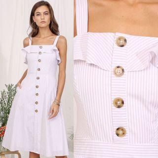 Supergurl Cherri Striped Midi Dress in Blush #endgameyourexcess