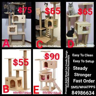 **IN STOCK** Premium cat Condo Solid Wood Cat Tree Design Cat Playground Scratch Post Board Not cat cage food litter.box sand tent pet cushion bed pet carrier