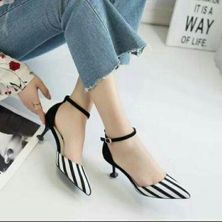 HighHeels sepatu wanita stripe heels zebra