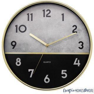 CONCRETE STYLE GOLD & BLACK MODERN WALL CLOCK