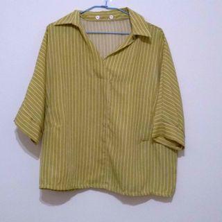 黃色直條紋襯衫/上衣