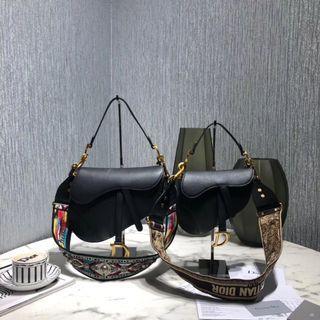 Dior saddle black small leather bag with box