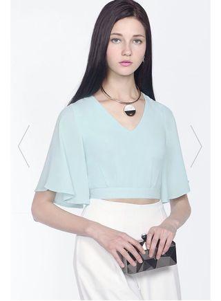 *PREMIUM* BNWT FAYTH Elise Flutter Sleeved Top (Pastel Blue)