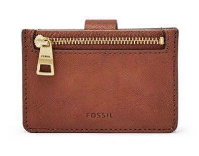 全新Fossil多功能零錢包 名片夾 卡夾 咖啡色