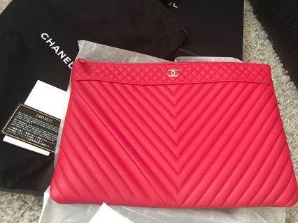 Chanel 限量版荔枝牛皮手拿包 全新 電腦包晚宴包