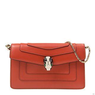 全新 BULGARI 寶格麗 手袋 283651 牛皮 橙色