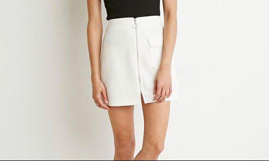 White o ring zip up a line skirt