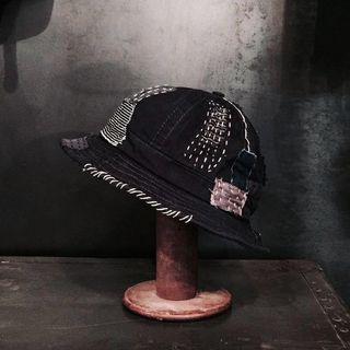 百搭拼布黑色漁夫帽