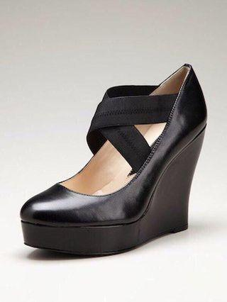 NEW - Size 6.5 Black Leather Wedge Shoes