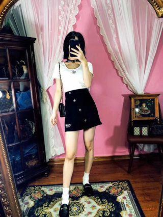 特價!正品vintage古著日本二手名牌Chanel tee+短裙