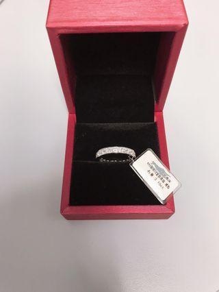 純銀 鍍 白金 莫桑石 鑽石 18號 訂婚戒 戒子