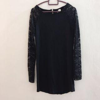 H&M Black Dress With Lace Sleeves