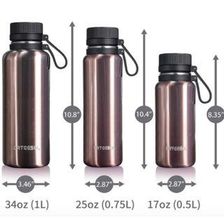 Rose Gold Leak-Proof Water Bottle- Hot & Cold Thermos (12h) w/ cleaning brush