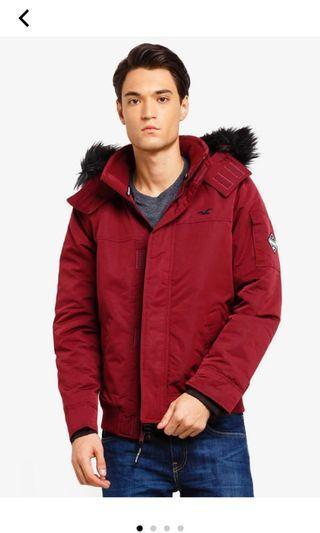 全新hollister酒紅色bomber jacket