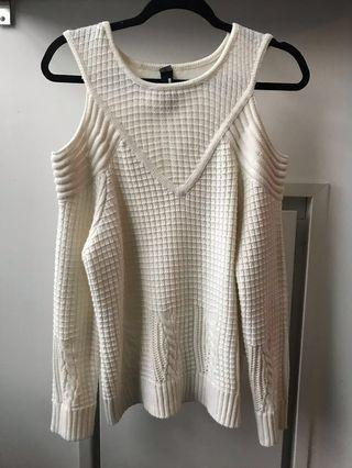 Cable Knit Sweater (M) cold shoulder
