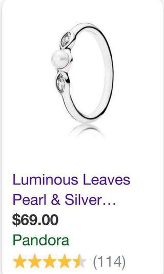 Pandora pearl rings size 50