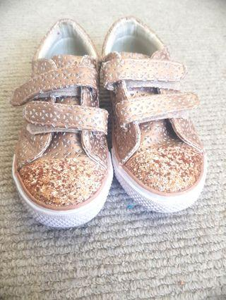 Size 13 Gold Shoes with Sparkles and Velcro Straps