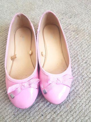 Size 13 light pink patent ballerina flat girls shoes