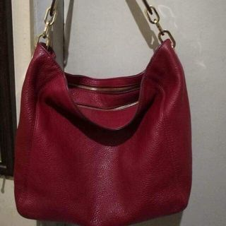 1dea1b465b02 Michael Kors Fulton MK Signature PVC Medium Slouchy Shoulder Bag Cherry Red