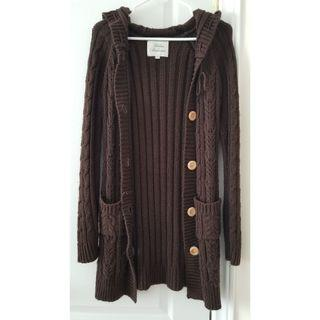Long Chunky Knit Cardigan with Hoodie