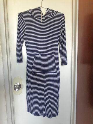 Striped Dress with Hoodie