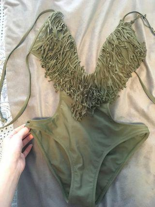 Olive green one piece/bikini back small
