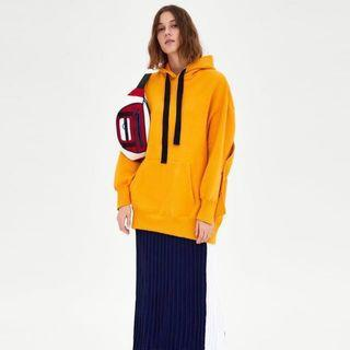Zara Oversized Mustard Hoodie Dress