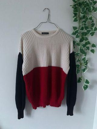American Apparel red white and blue knit sweater