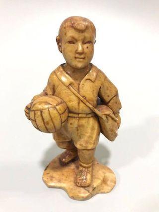 文革寿山石雕 - 上学打球去