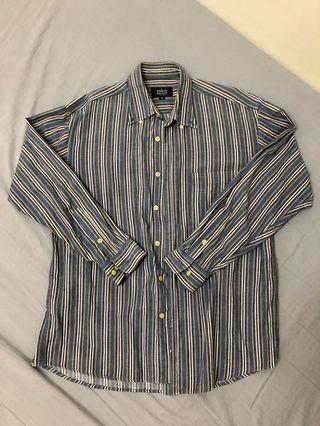 🚚 古著店購入長袖條紋襯衫
