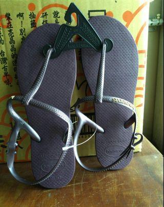 哈瓦仕 女平底T字涼鞋 深紫色