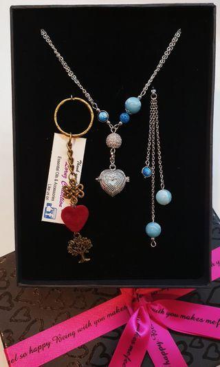 3 ways Blue Opal & Apatite Pave Diffuser Necklace