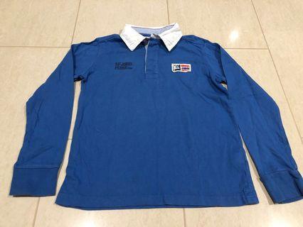 Okaidi Blue with white collar Long Sleeve T-shirt #ENDGAMEyourEXCESS