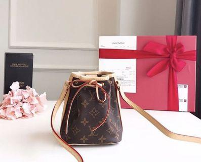Louis Vuitton Nano noe (Monogram) 100% Genuine leather NEW FREE SHIPPING